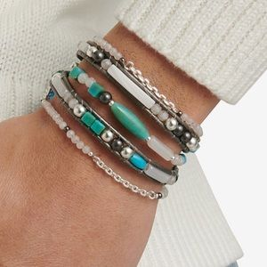 Lucky Brand Silver, Turquoise Leather Bracelet NEW